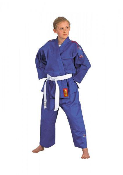 DANRHO Kinder Judoanzug Yamanashi mit Schulterstreifen in blau