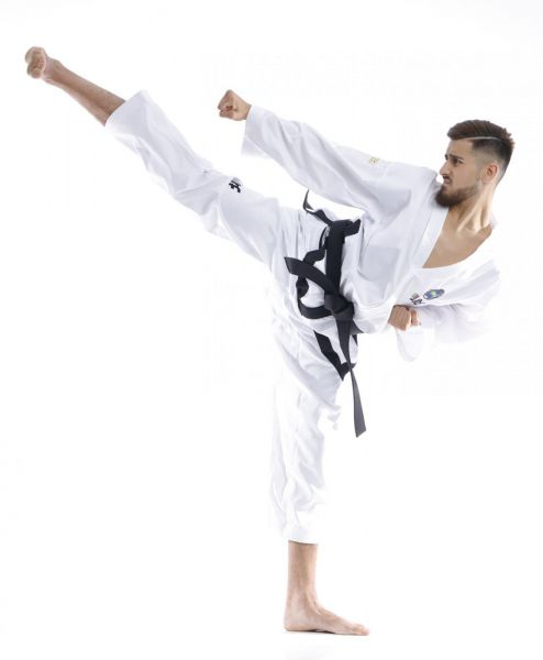 TOP TEN Taekwondo Instructor Anzug Premium Gold mit Zulassung der International Taekwon-Do Federation ITF