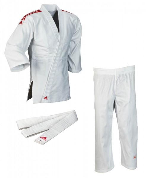 Adidas Judo-Anzug Club weiß/rote Streifen J350