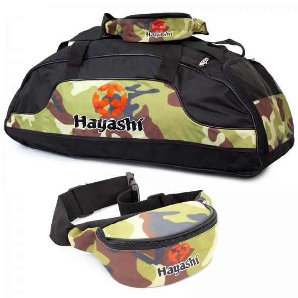 HAYASHI Sporttasche Camouflage im Set mit Bauchtasche
