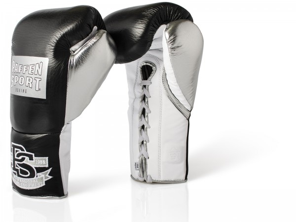 PAFFEN SPORT PRO MEXICAN Boxhandschuhe für den Wettkampf 8UZ & 10UZ Schwarz/Silber