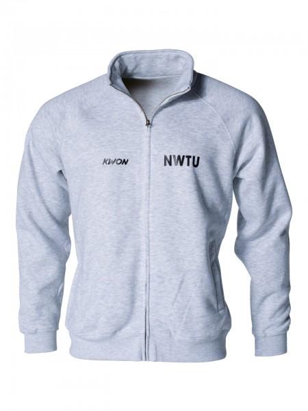 Graue Sweatjacke mit NWTU Druck von KWON Frontansicht