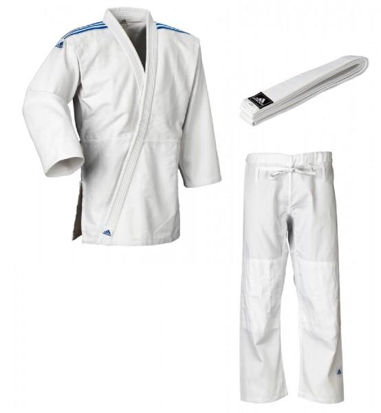 "adidas Judo-Anzug ""Club"" weiß/blaue Streifen, J350"