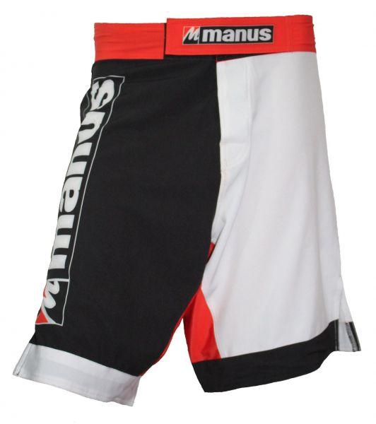 MMA Shorts Flexz von Manus in Schwarz-Weiß-Rot Frontansicht