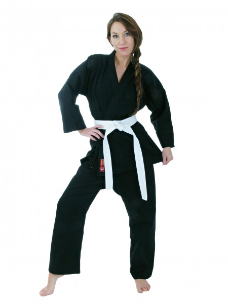 Schwarzer HAYASHI Ju-Jutsu Anzug für Frauen Kirin 8oz