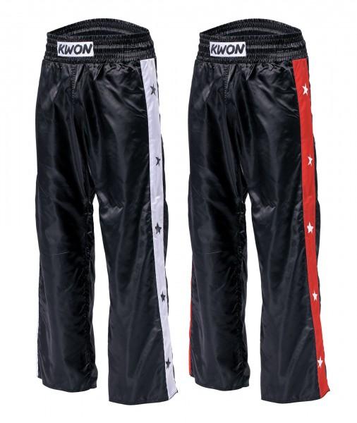 322f85eb8761b9 Schwarz-weiße und schwarz-rote KWON Satinhose Kickboxhose STAR