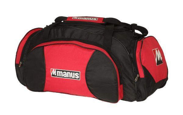 Geräumige Sporttasche von Manus in Schwarz-Rot mit 3 Reißverschluss-Seitentaschen