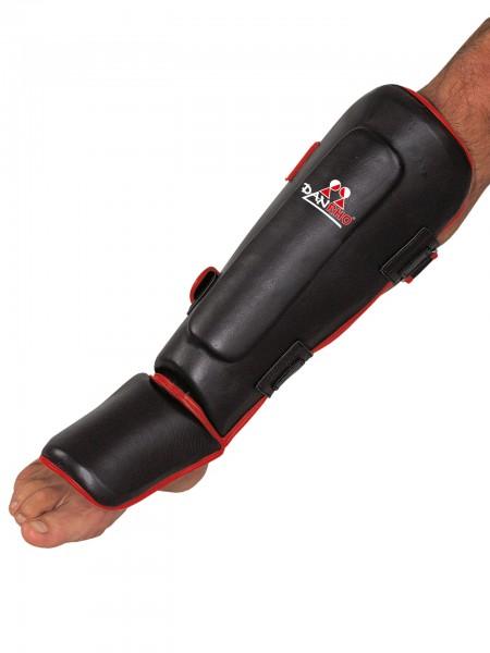 Schwarz-roter Schienbein- und Spannschutz Vollkontakt von Danrho