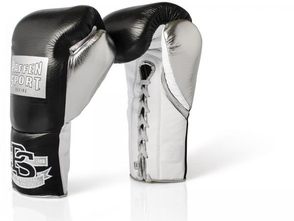 PAFFEN SPORT PRO MEXICAN Boxhandschuhe für den Wettkampf 10UZ XL Schwarz/Silber