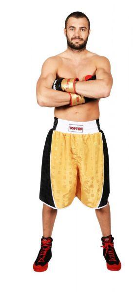 Boxing Shorts Champ von Top Ten in Gold-Schwarz Frontansicht