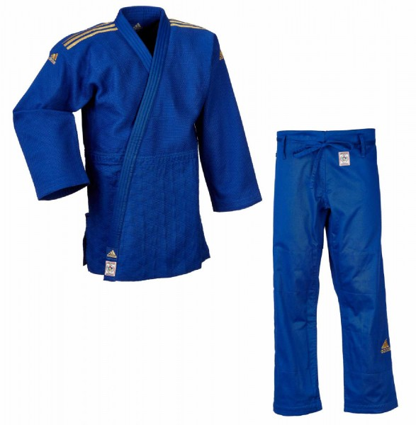 "adidas Judoanzug ""CHAMPION II"" IJF, blau/goldene Streifen, JIJF"