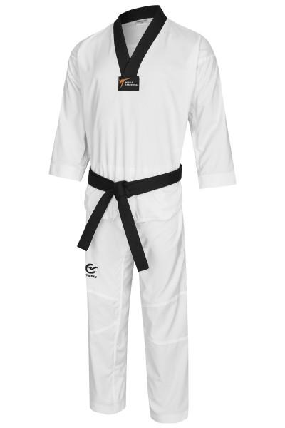 Phoenix Taekwondoanzug TKD Dobok FIGHT PRO WTF sR, schwarzes Revers, extra leicht