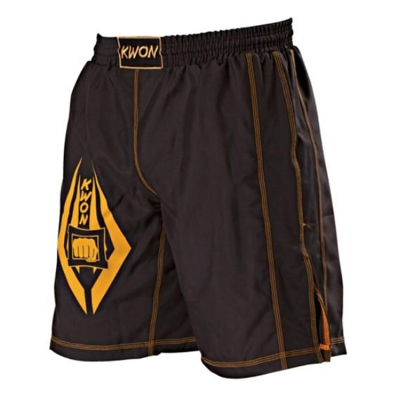 Schwarz-Gelbe Freefight Shorts von Kwon