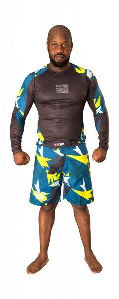 MMA Rash Guard Jungle in Schwarz-Gelb von Top Ten Frontansicht