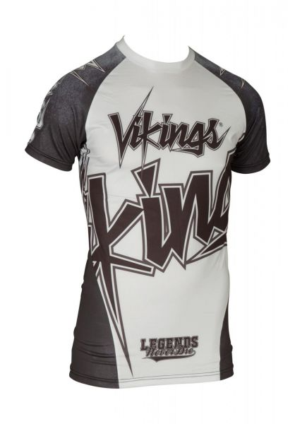 MMA Kurzarm Rash Guard Vikings von Top Ten in Weiß Frontansicht